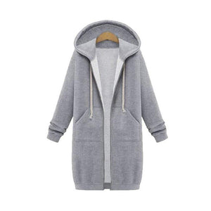 Her Shop Sweatshirts & Hoodies Casual Long Zippered Hooded Jacket
