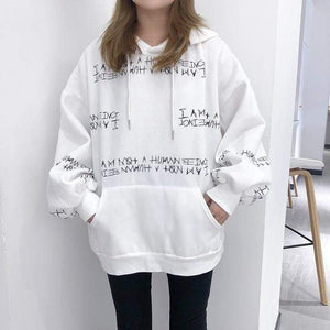 Her Shop Sweatshirts & Hoodies white / XXL Harajuku letter printing hooded sweatshirt long-sleeved loose Pullovers sweatshirt