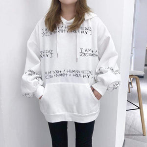 Her Shop Sweatshirts & Hoodies Harajuku letter printing hooded sweatshirt long-sleeved loose Pullovers sweatshirt