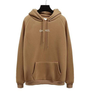 Her Shop Sweatshirts & Hoodies Brown / S Oh Yes Letter Harajuku Winter Fleece Pullover