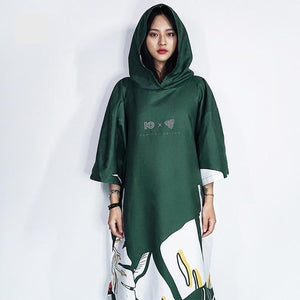 Her Shop Swimwear green Microfiber Unisex Beach Robe/Swimming Bath Suit for Kayaking Bathing Vacation-Sun Wind Protection