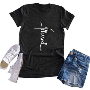 Her Shop T-shirts Black / XXL Blessed Letter Print Casual Tee