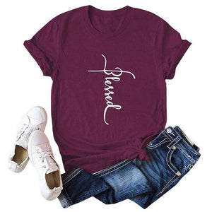 Her Shop T-shirts Burgundy / XXL Blessed Letter Print Casual Tee