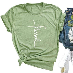 Her Shop T-shirts Army Green / XXL Blessed Letter Print Casual Tee