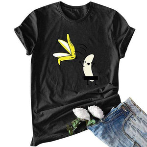 Her Shop T-shirts Black2 / XXL Funny Banana Print and more Casual Cotton T-Shirts