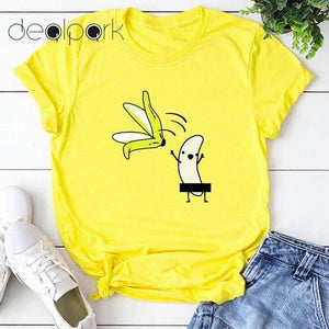 Her Shop T-shirts yellow2 / XXL Funny Banana Print and more Casual Cotton T-Shirts