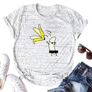 Her Shop T-shirts Light Grey2 / XXL Funny Banana Print and more Casual Cotton T-Shirts