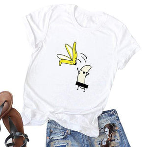 Her Shop T-shirts white2 / XXL Funny Banana Print and more Casual Cotton T-Shirts