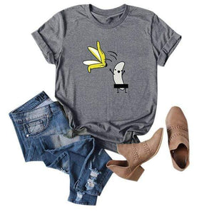 Her Shop T-shirts Gray2 / XXL Funny Banana Print and more Casual Cotton T-Shirts