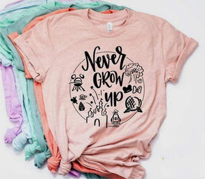 Her Shop T-shirts Pink / L Never Grow Up Graphic Tee