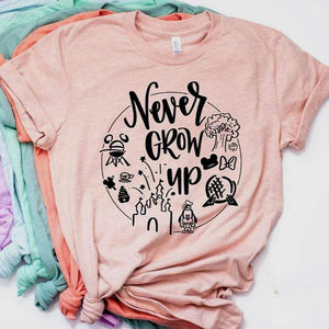 Her Shop T-shirts Never Grow Up Graphic Tee