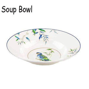Her Shop Tableware 9 inch soup bowl Christmas Cutlery Dinner Plate Cup & Saucer Porcelain Vajilla Hand-painted Bird Dishes Ceramic Flat Dish Cartoon Dinnerware Set