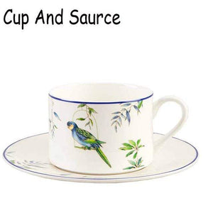 Her Shop Tableware Cup and sauce Cutlery Hand-painted Bird Porcelain Dinning Set