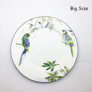Her Shop Tableware 11 inch plate Cutlery Hand-painted Bird Porcelain Dinning Set