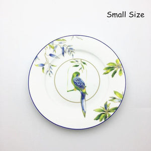 Her Shop Tableware 8 inch plate Cutlery Hand-painted Bird Porcelain Dinning Set
