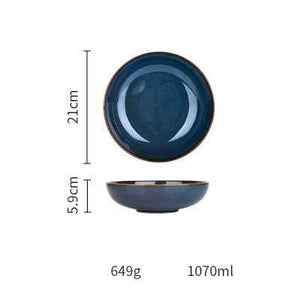 Her Shop Tableware Soup Plate European Dim Deep Blue Color Ceramic Tableware
