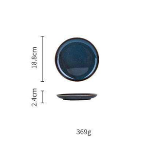 Her Shop Tableware 7inch Plate European Dim Deep Blue Color Ceramic Tableware