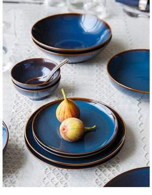 Her Shop Tableware European Dim Deep Blue Color Ceramic Tableware
