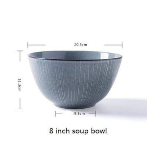 Her Shop Tableware 8 inch soup bowl Japanese Style Retro Ceramic Pigmented  Ramen Bowls