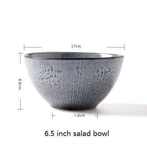 Her Shop Tableware 6.5 inch salad bowl Japanese Style Retro Ceramic Pigmented  Ramen Bowls