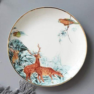 Her Shop Tableware D-8 inch plate Rain Forest Ceramic Tableware