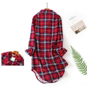 Her Shop Top Flannel Nightdress Plus Size Women Sleepwear