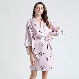 Her Shop top Pink / XXL Sexy Silk Satin Robe