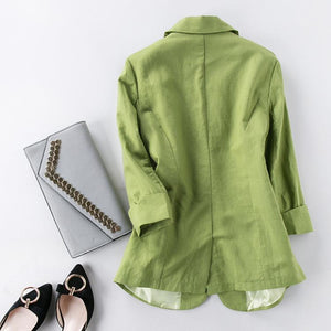 Her Shop Tops Cotton and Linen Women Green Blazer