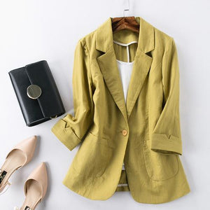 Her Shop Tops 4 / XXXL Cotton and Linen Women Green Blazer