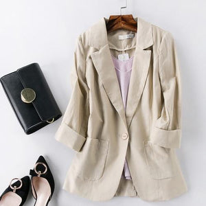 Her Shop Tops 1 / XXXL Cotton and Linen Women Green Blazer