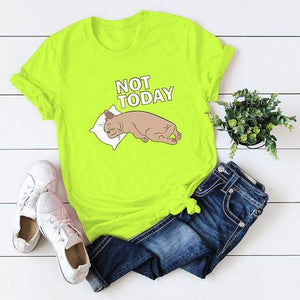 Her Shop Tops Light Green / XXL Women Funny  Cartoon Print T-shirt
