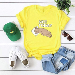 Her Shop Tops Yellow / XXL Women Funny  Cartoon Print T-shirt
