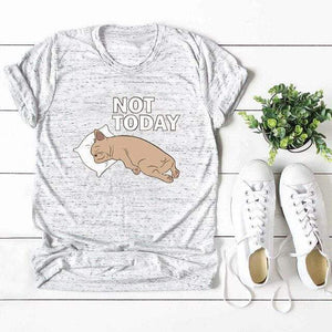 Her Shop Tops Light Grey / XXL Women Funny  Cartoon Print T-shirt
