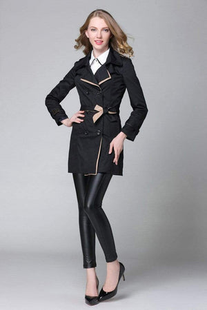 Her Shop Trench Coat Black / S Classic Double Breasted Trench Coat