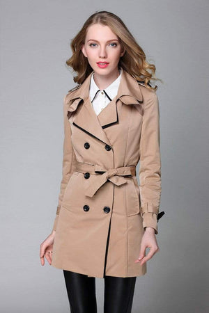 Her Shop Trench Coat Khaki / S Classic Double Breasted Trench Coat