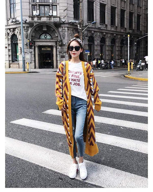 Her Shop Trench Coat Women Chic Gold Open Stitch Loose Casual Trench