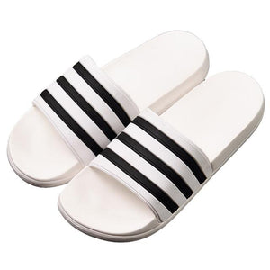 Her Shop WHITE / 10 Unisex Soft Black and White Striped Casual Summer Slippers