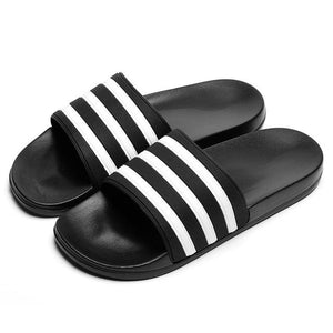 Her Shop black / 6 Unisex Soft Black and White Striped Casual Summer Slippers