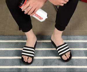 Her Shop Unisex Soft Black and White Striped Casual Summer Slippers