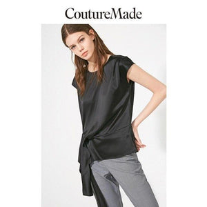 Her Shop L / S59 Black Vero Moda CoutureMade Women's OL Mulberry Silk Chiffon Shirt | 319241506