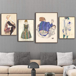 Her Shop Vinsonloud Home Decoration Print Canvas Wall Art Picture Poster Paintings Oil Unframed Drawings Austrian Egon Schiele