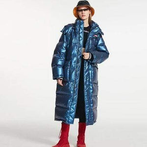 Her Shop Blue / S Winter New List Women Fashion Long Down Jacket Waterproof&Windproof Hooded Parkas