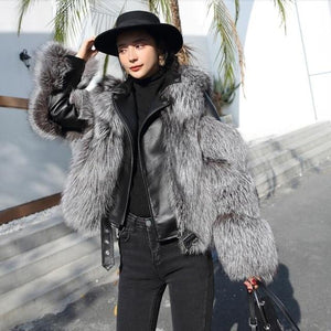 Her Shop sliver / S(bust 84cm) ZDFURS*  Import fox fur patchwork Double-faced Fur Moto & Biker coat women 2020 Leather fur Overcoats