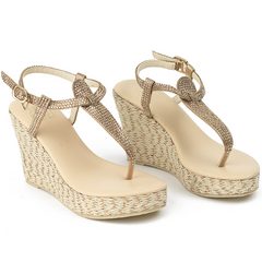 Gladiator Champagne Wedge - Sandals  Wedges  Espadrilles