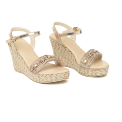 Arrienne Jute Wedge High Champagne - Sandals  Wedges  Espadrilles - 1