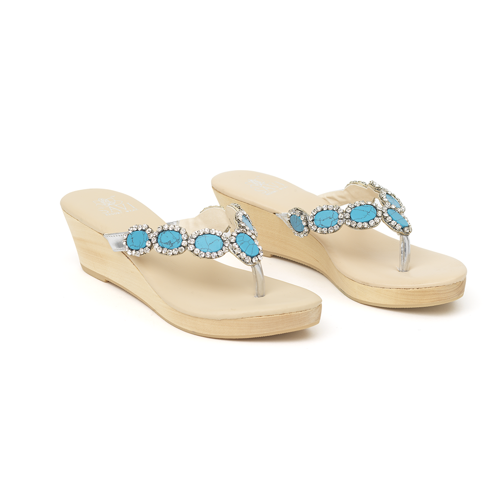 Heloise Turquoise Wedge - Sandals  Wedges  Espadrilles