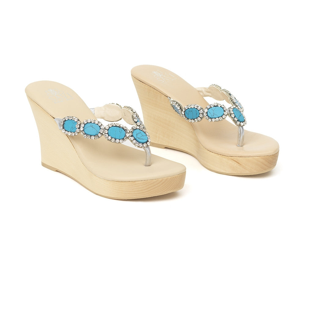 Heloise Turquoise Wood Wedge Low