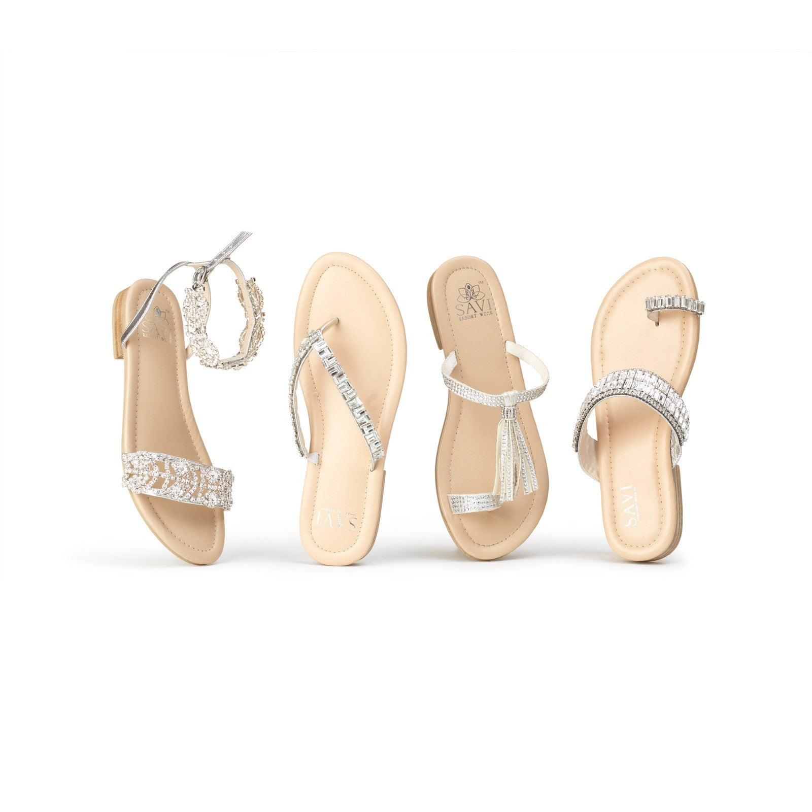 Savi Bridal Flats Clear collection - leather flats with padded cushioning for comfort. Let your inner sparkle shine