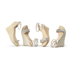 Savi Bridal Wedges Clear collection - Wood and Jute Wedges with padded cushioning for comfort. Let your inner sparkle shine!