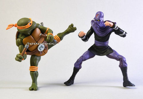 Image of Tmnt Michelangelo vs Foot Soldier Tartarughe Ninja Neca 18 cm 2 pack